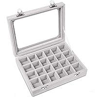 Pasutewel Velvet Glass Ring Jewellery Display Storage Box Jewelry Holder Storage Organizer Stand (Grey-(24 Grids))