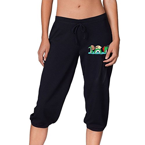 Dragon Womens Tracksuit (GHKNML Women's Sloth and Pug Riding A Dragon Casual Cropped Trousers)