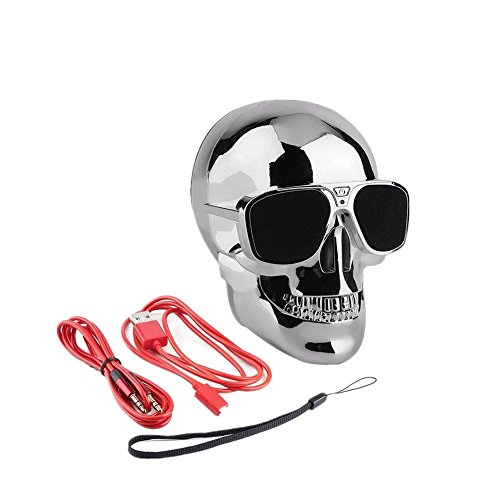 LANSIN (Silver) Plastic Metallic SKULL Wireless Bluetooth Speaker Sunglass NFC - Sunglasses With Speaker