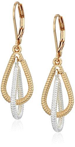 Napier Two Tone Earrings (Napier Two-Tone Open Drop Leverback Drop)