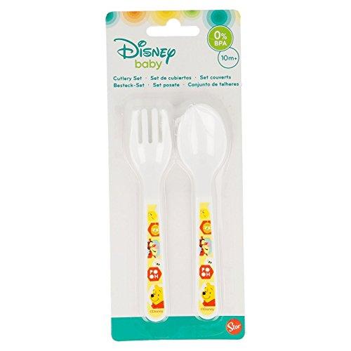 Fourchette Cuillere Enfant Repas 173 Set de Couvert Plastique pour Bebe Winnie Tigrou Miel Disney G/én/érique