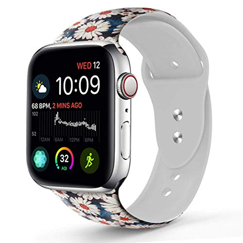 Compatible with A pple Watch Band 38mm 40mm, OOCASE Floraler Soft Silicone iWatch Strap Replacement Sport Band for Apple Watch Band 38mm Series 4/3/2/1 Sport & Edition Small Daisy Pattern