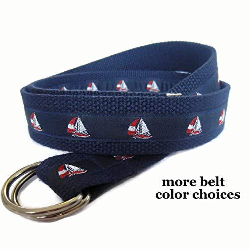 Mens Belt/Sailboat Belt/D-Ring Belt for Men/Nautical Canvas Belt/Ribbon Belt/Preppy Men Boys Teens Big & Tall Men - Red White Blue Sailboats (Vineyard Vines Canvas)