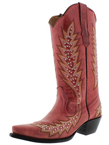 Cowboy Professional Womens Red & Silver Studded Leather Cowboy Boots Snip Red AYBWsP2Em