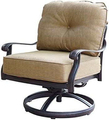theWorldofpatio Elizabeth Cast Aluminum Powder Coated 4 Swivel Rocker Club Chair