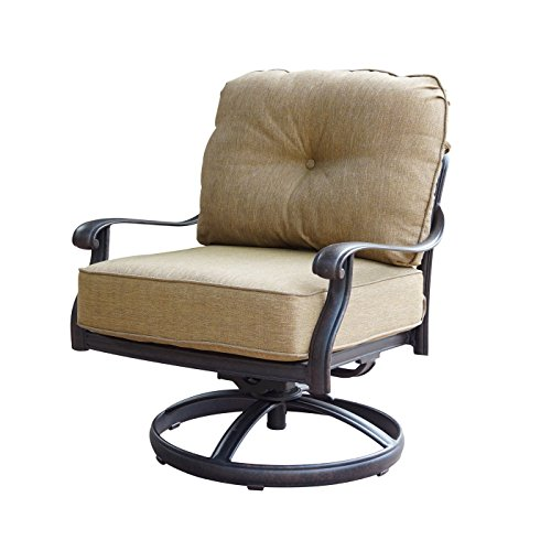 theWorldofpatio Elizabeth Cast Aluminum Powder Coated 4 Swivel Rocker Club Chairs - Antique Bronze (Antique Cushions Chair)