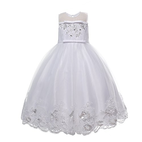 Amelia Girl's Wedding Flower-girl White Dress (6, White) (Care Package Delivery Nyc)