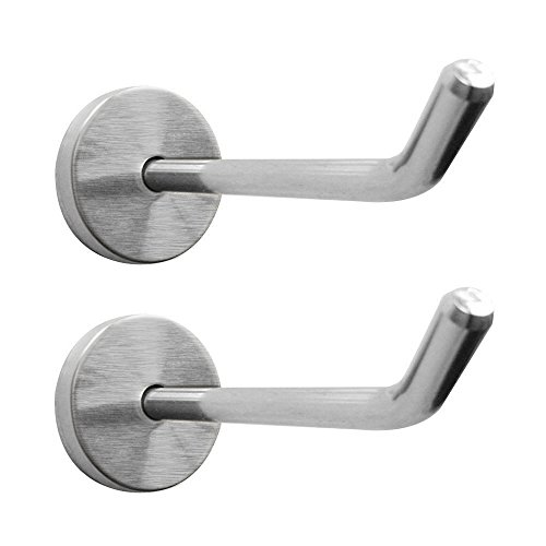Shineme 2 Pack Stainless Steel Wall Hook Single Holder for Living room Coat Hat Robe hanger Bathroom Towel Kitchen Strong Heavy Duty Garage Storage Organizer Utensil Hook(large-2pcs)