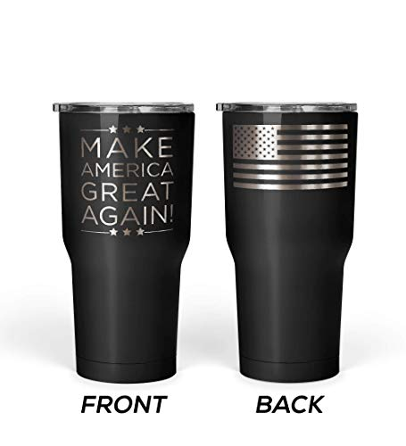 - We The People - President Donald Trump Make America Great Again Mug - Stainless Steel Travel Mug with American Flag - 30 oz Insulated Tumbler - MAGA Gifts for Men - Trump Merchandise (Black)