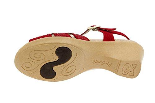 Calzado mujer confort de piel Piesanto 4863 sandalia plantilla extraíble zapato cómodo ancho Rojo