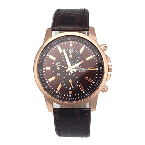 Price comparison product image Nmch Women Mens Watches, Fashion Soft Leather Analog Dial Quartz Sport Wrist Watch Jewelry Gift (Brown)