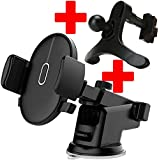 FENGGU Multi-fonction T2 Version Tablet Desk Cell Phone Stand Mounts One-Hand Automatic Air Vent Dashboard Windshield Car Phone Cradles Stands Holder for iPhone X/8/7/6/6s Plus Samsung Galaxy