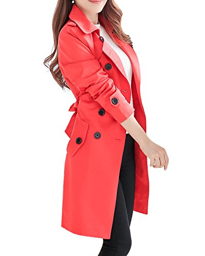 - NANJUN Women's Double Breasted Trench Coat Chelsea Tailoring Overcoat (red 10a)