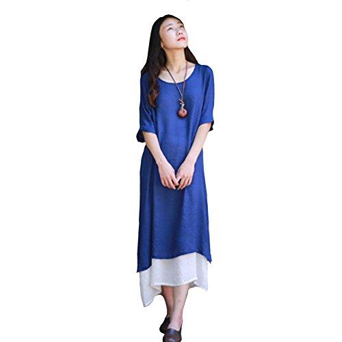 Summer Casual Muslim Dress with Jacquard Sleeve (Blue) - 5