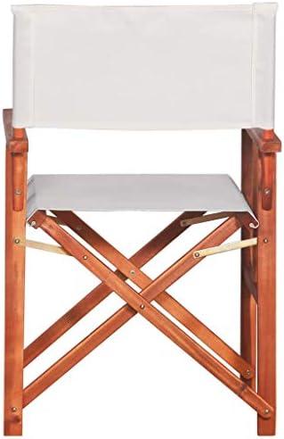 vidaXL 2X Bois Massif d'Acacia Chaises de Metteur en Scène Chaises de Camping Chaises de Plage Chaises de Jardin Chaises d'Extérieur Marron et Blanc