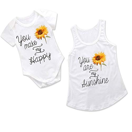 Chiccc Parent-Child Summer Sunflower Letter Print Romper Tops T-Shirt Tee Mommy Me Matching Clothes