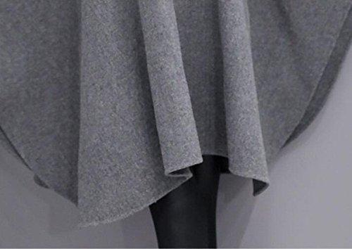 Lana Piel Capa Abrigo Sección Grey Cuello Chal Abrigo Larga Temperamento Invierno Mujeres De z1OYppWt