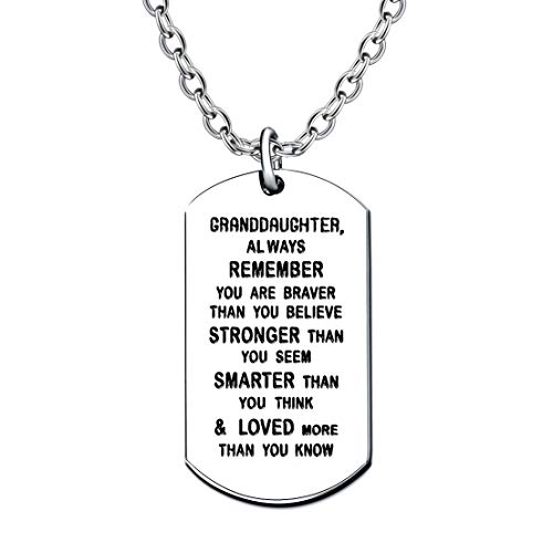 lauhonmin Granddaughter Gifts Dog Tag Necklace for Women Girl from Grandpa Grandma - You are Braver Stronger Smarter Than You Think