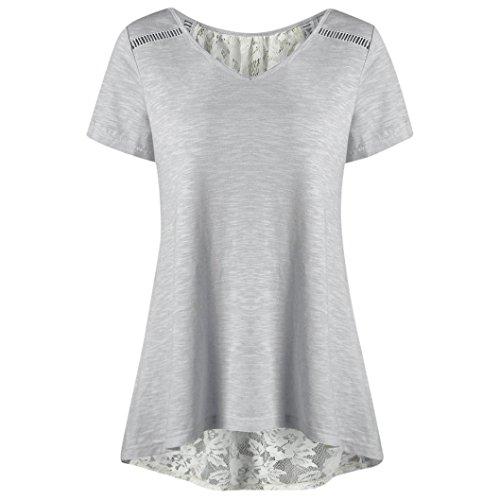 iOPQO 2018 Lady Bandage Race Patchwork V Neck Short Blouse T Shirt Top(S-L3)