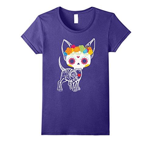 Womens Chihuahua Dog Skeleton Floral Design - Halloween Gifts Ideas Medium Purple