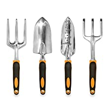 GardenHOME™ Ergonomic 4 Piece Garden Tool Set - HEAVY DUTY Aluminum Alloy (Trowel, Transplanter, Cultivator and Weeding Fork)