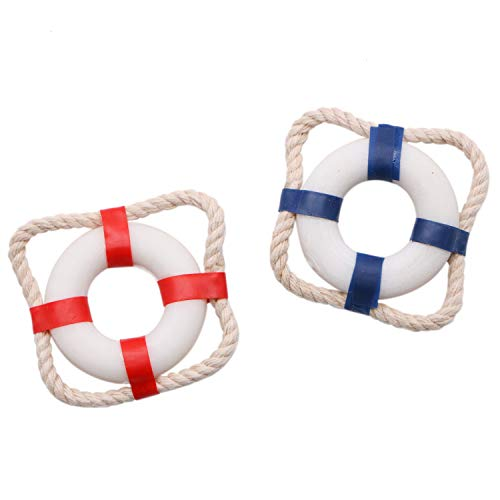 JETEHO Mini Small 1.5 Inch Nautical Decorative Welcome Cloth Life Ring Buoy Rustic Decorative Style Accessories Home Wall Door Miniature Fairy Garden Decor,Pack of 30 ()