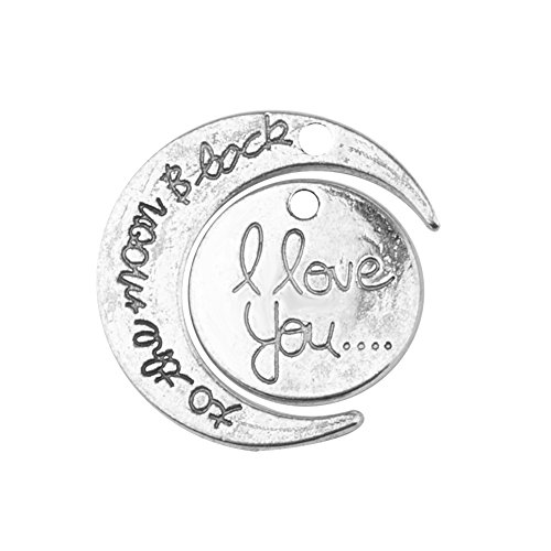 Pandahall 5 Sets I Love You To The Moon and Back Two-Piece Pendants Sets, Valentine's Gifts, Antique Silver. -