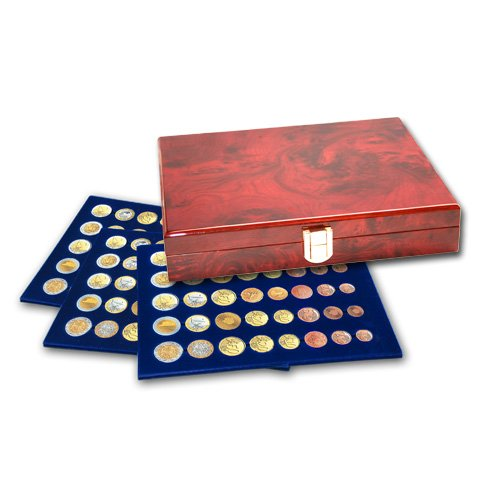 SAFE Premium Coin Case in Burlwood & Brass w/3 Trays