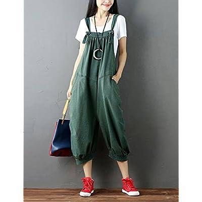 Flygo Women's Baggy Cotton Denim Wide Leg Drop Crotch Overalls Jumpsuit Romper Harem Pants: Clothing