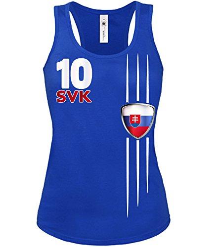 Copa del Mundo de fútbol - Campeonato de Europa de Fútbol - SLOWAKAI mujer camiseta Tamaño S to XXL varios colores S-XL Azul