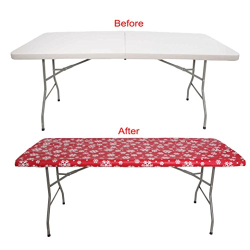 PARTY TABLECLOTH 6 FOOT FOLDING TABLE . Fitted Table Cloth For 6 Foot - Fits Table 30 x 72 Inch - Plastic Vinyl Flannel Backed With Elastic Rim. RED SNOW FLAKE -