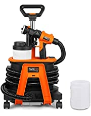 Spray Gun 1200W, Tacklife Paint Sprayer for 150 DIN/Min Paint Max Flow 1100ml/min with 3 Spray Patterns, 2 PCS 1200ml Detachable Containers and 4 Universal Wheels | SGP17AC