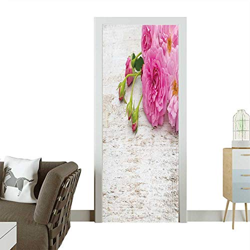 Modern Art Door Sticker Pink Double Roses and Buds on The White Rustic Background Environmentally Friendly Decoration W31 x H79 INCH Bicycle Double Bubble Clock