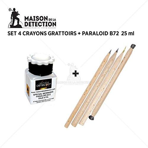 Set 4 crayons grattoirs + Paraloid B72 Maison de la Détection