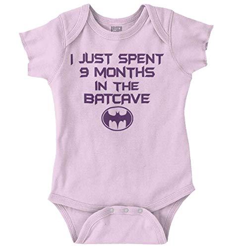 Brisco Brands 9 Months Batcave Funny Comic Book Hero Baby Romper Pink