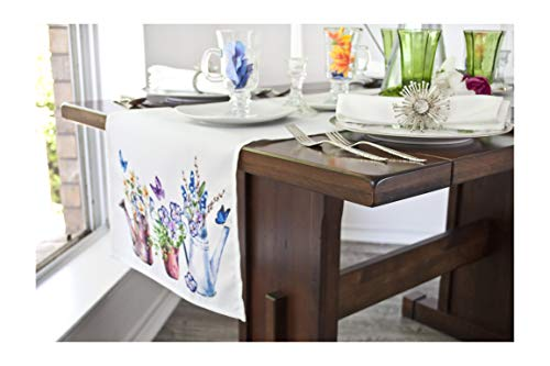Linens, Art and Things Ink Print Watering Cans, Flowers & Butterflies with Mesh Lace Ribbon Embroidery Farmhouse Table Runner 16 Inch x 70 Inch (Ribbon Embroidery Runner)