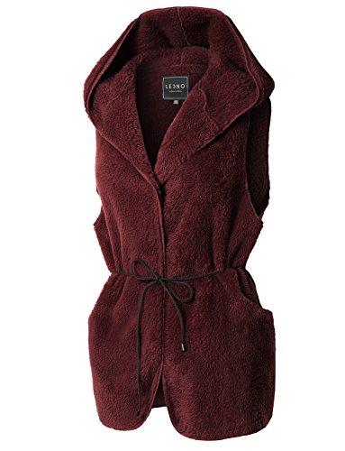 Nice LE3NO Womens Soft Cozy Faux Fur Fleece Sleeveless Vest