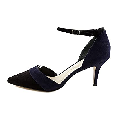 Alfani Womens Jorrdyn Suede Pointed Toe Ankle Strap, Dp Midnight/Blk, Size 6.5 R | Pumps