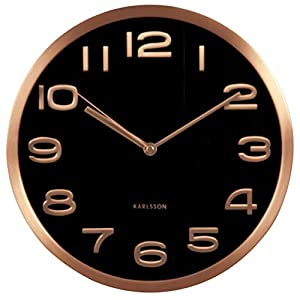 Present Time Karlsson Maxie Cooper - Reloj de Pared (Cobre, 30 cm), Color Negro 10