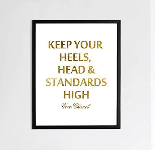 Coco Keep You Heels Head & Standards High Gold Foil Typography Decor Print Wall Art Inspirational Motivation Quote poster 0390 -