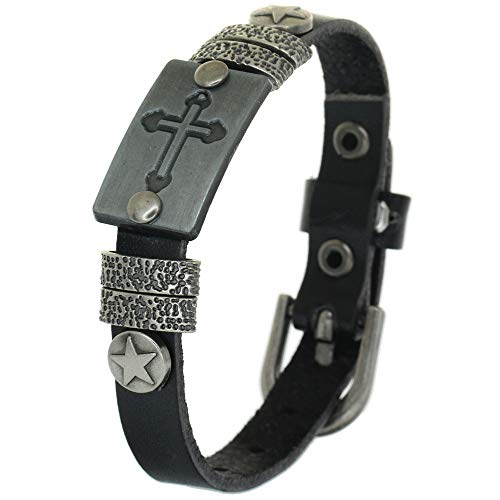 BRLTime Genuine Cow Leather Bracelets Cuff Charm Jewelry Vintage Antique Men Praid Cross Tag Fashion Bangle Christ Wristlet Punk Circlet Women Wristband Star Stud Teenager Ancient Style Jewelry