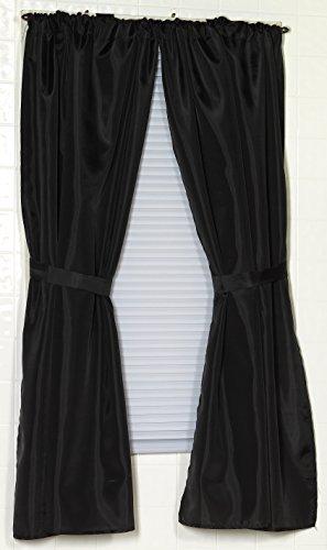 Curtains Ideas black window curtain : Amazon.com: Carnation Home Fashions Fabric Bathroom Window Curtain ...
