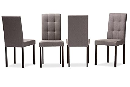 Charmant Baxton Studio 4 Piece Andrew Modern And Contemporary Fabric Upholstered  Grid Tufting Dining Chair Set