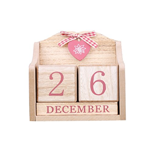 LANGUGU Novelty DIY Wooden Blocks Daily Perpetual Desk Calendar Photography Props Christmas Crafts Home Office Decoration (Pink) -