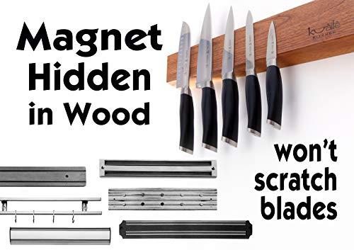 Heavy Duty Knife Holder - Magnetic Knife Bar - Knife Storage Strip 18'' (Bamboo Wood, 16 Inch) by Kuaile Kitchen (Image #7)