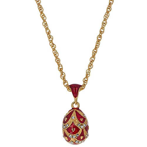 - BestPysanky Miniature Red Pinecone 40 Crystal Royal Egg Pendant Necklace 20 Inches