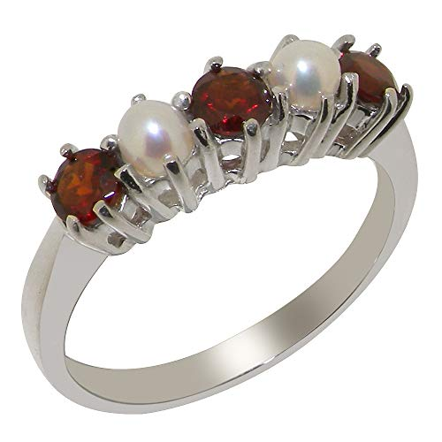 - LetsBuyGold 14k White Gold Natural Garnet & Cultured Pearl Womens Eternity Ring - Size 5.75
