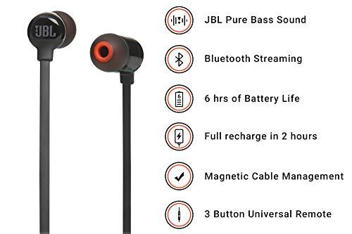 (Renewed) JBL T160BT Pure Bass Wireless in-Ear Headphones with Mic (Black)