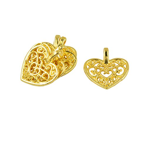 MonkeyJack 50 Pieces Mini Filigree Heart Hollow Pendant 16.5 x 14.5 mm Findings Loose Beads DIY Making Craft ()