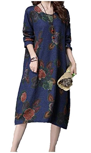 Pockets Retro Womens Dress Blue Shift Casual Long Floral Scoop sleeve Comfy xq0Ftwd44z